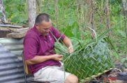 Lynn making basket Samoa 2012