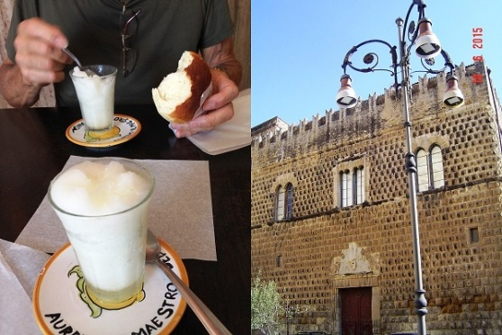 Aurelio's outstanding Lemon Granita and brioche Sciacca was an olde walled city with castles built by feuding rich families.  --- A lot of the walls and gates remain, though the castles are pretty much ruined. There are dozens of olde basilicas and churches.