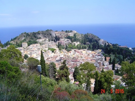 Taormina – Greek/Roman (one on the other) Amphitheatre (upper centre); it would have taken great legs to have climbed just to that level from the town below, so you would have wanted the entertainment to be pretty good for the effort