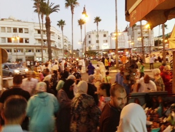 Evening crowd in Tangier Maroc