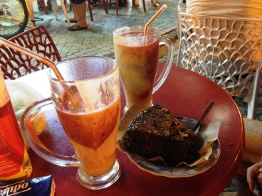 Refreshments and cake in Tanger Morocco