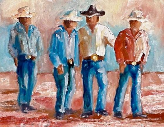 Texas Cowboys - Artist Ann Rogers