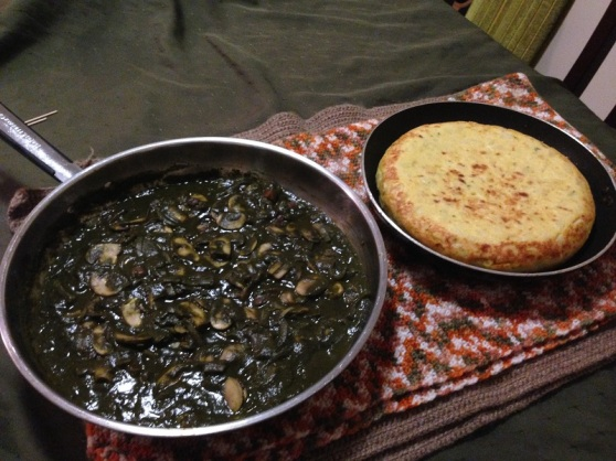 Pureed spinach & mushrooms with tortilla