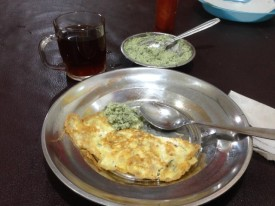 A simple egg and shallot omelette with coconut sambal – and tea