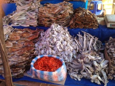 Dried fish at local food and vegetable market