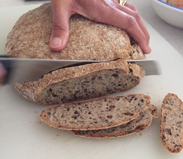 Homemade seeded sourdough bread